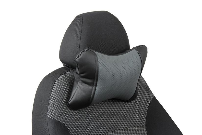 Подушка под шею из экокожи «черный+серый»