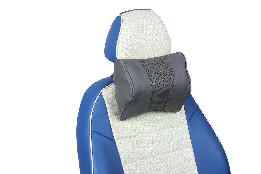 подушка под шею из натуральной кожи «серый»