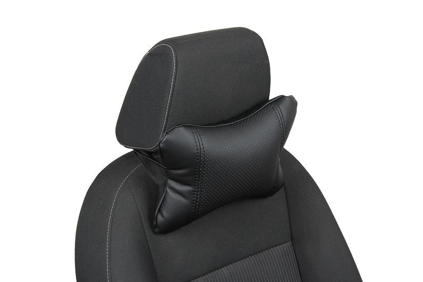 Подушка под шею из экокожи «черный+черный»