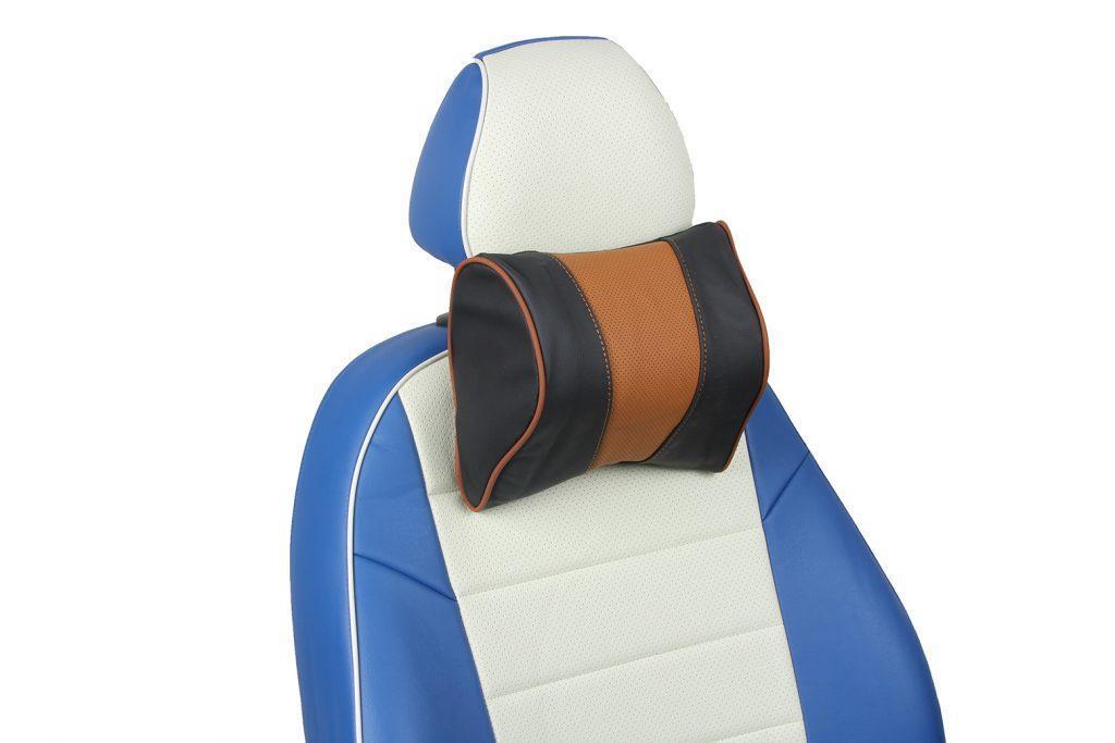 подушка под шею из натуральной кожи «черный+коричневый»