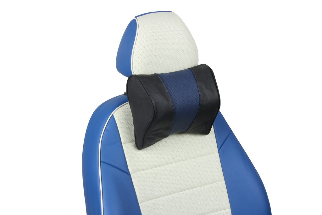 подушка под шею из натуральной кожи «черный+синий»