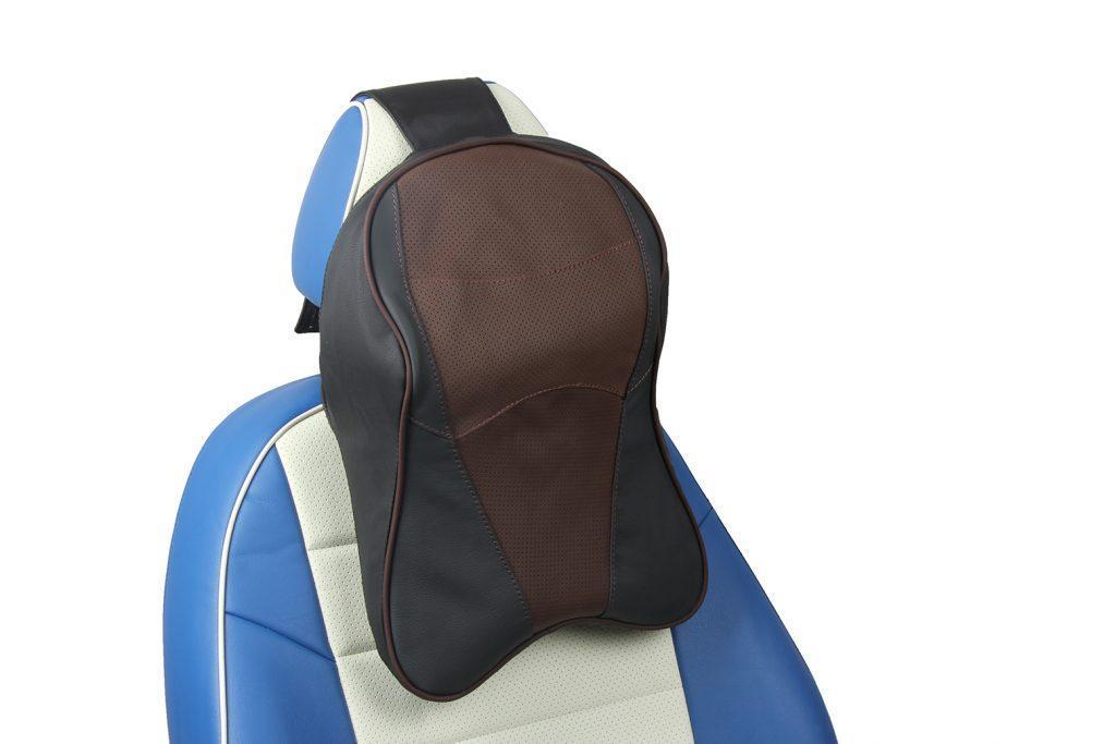 подушка под шею из натуральной кожи «черный+шоколад»