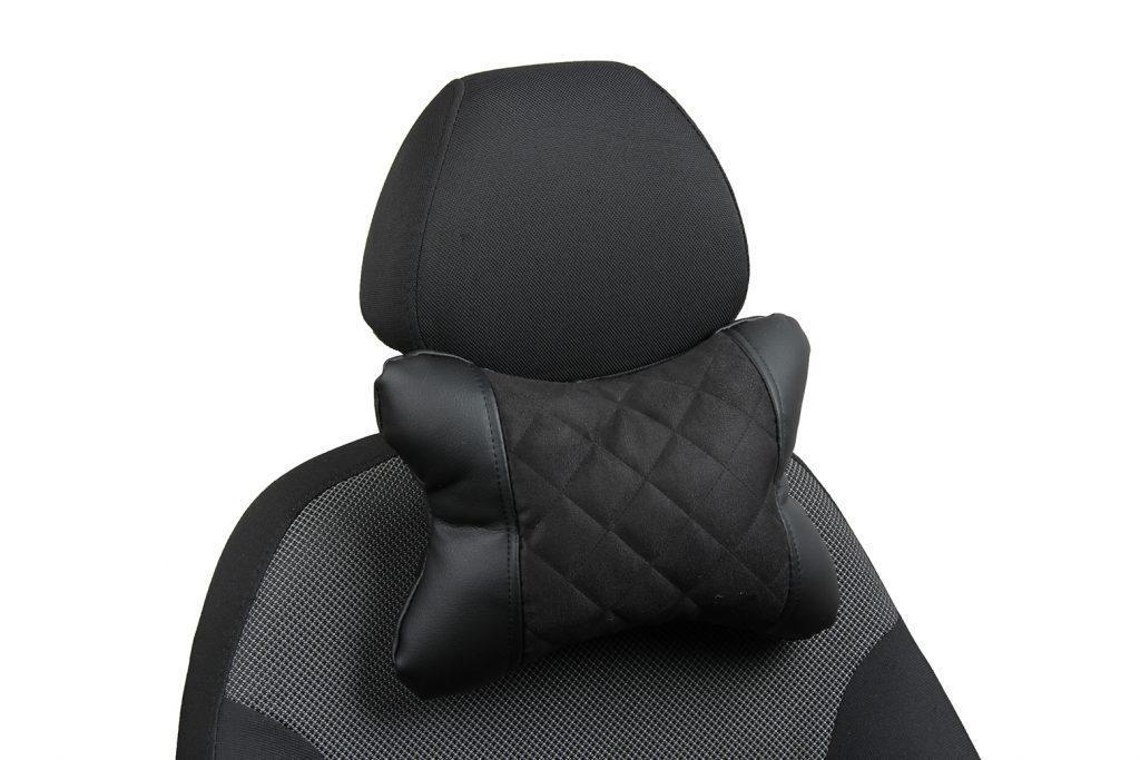 Подушка под шею из алькантары с ромбом «черный+черный»