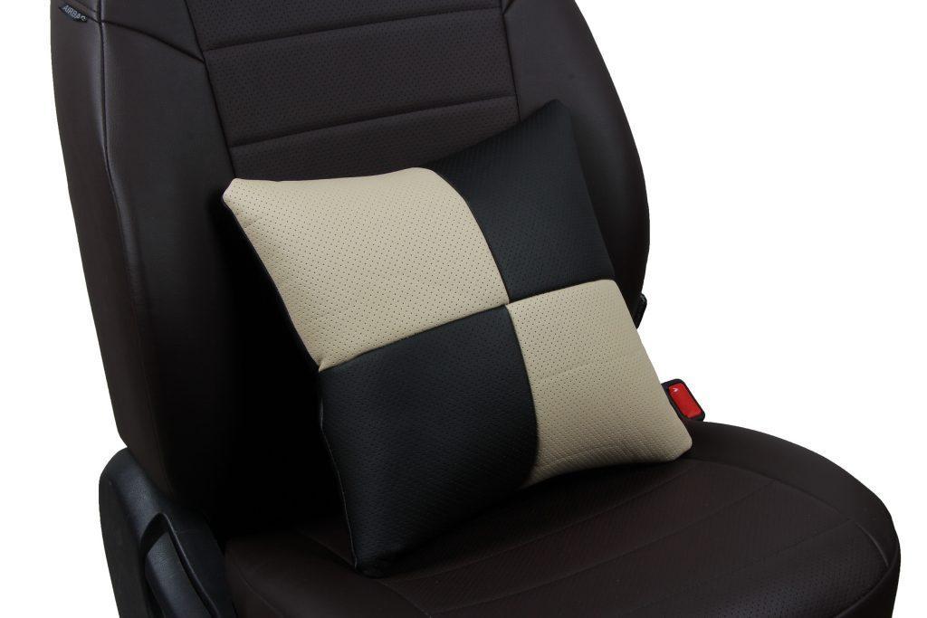 Подушка в салон автомобиля из экокожи «черный+бежевый»