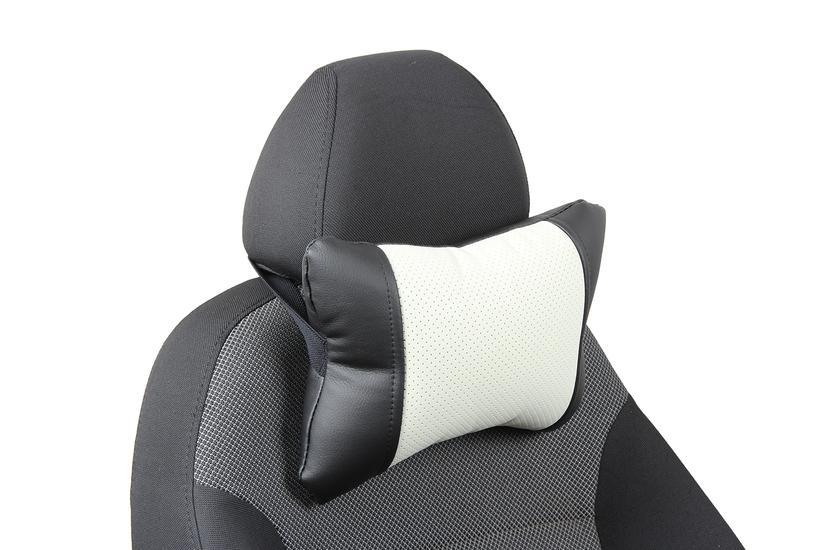 Подушка под шею из экокожи «черный+белый»