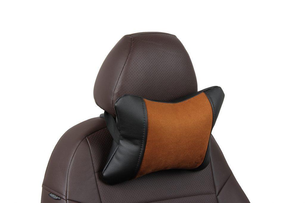 Подушка под шею из алькантары «черный+коричневый»