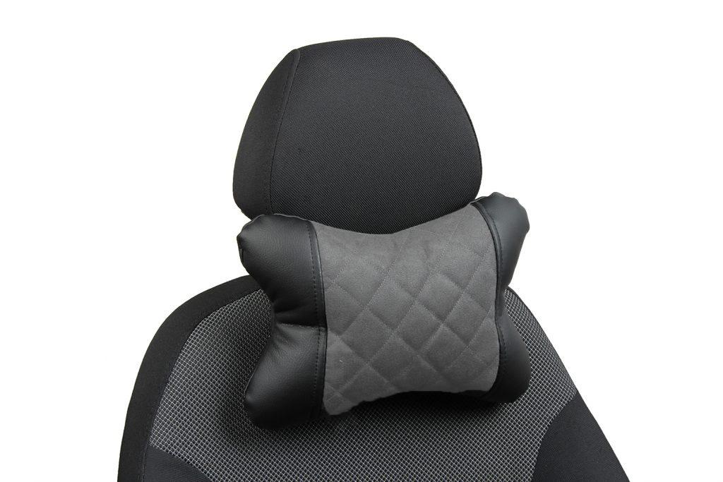 Подушка под шею из алькантары с ромбом «черный+серый»