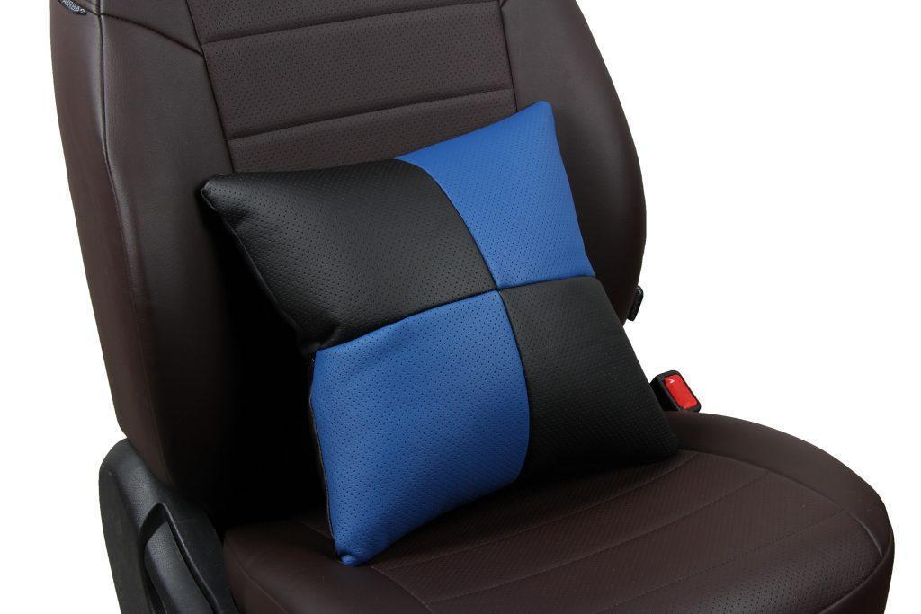 Подушка в салон автомобиля из экокожи «черный+синий»