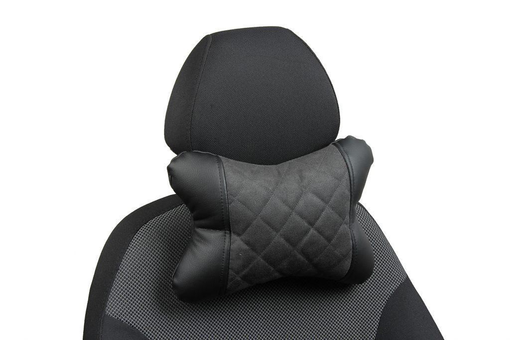 Подушка под шею из алькантары с ромбом «черный+темно-серый»