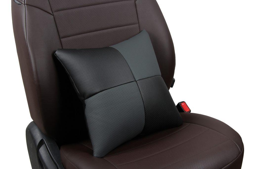 Подушка в салон автомобиля из экокожи «черный+темно-серый»