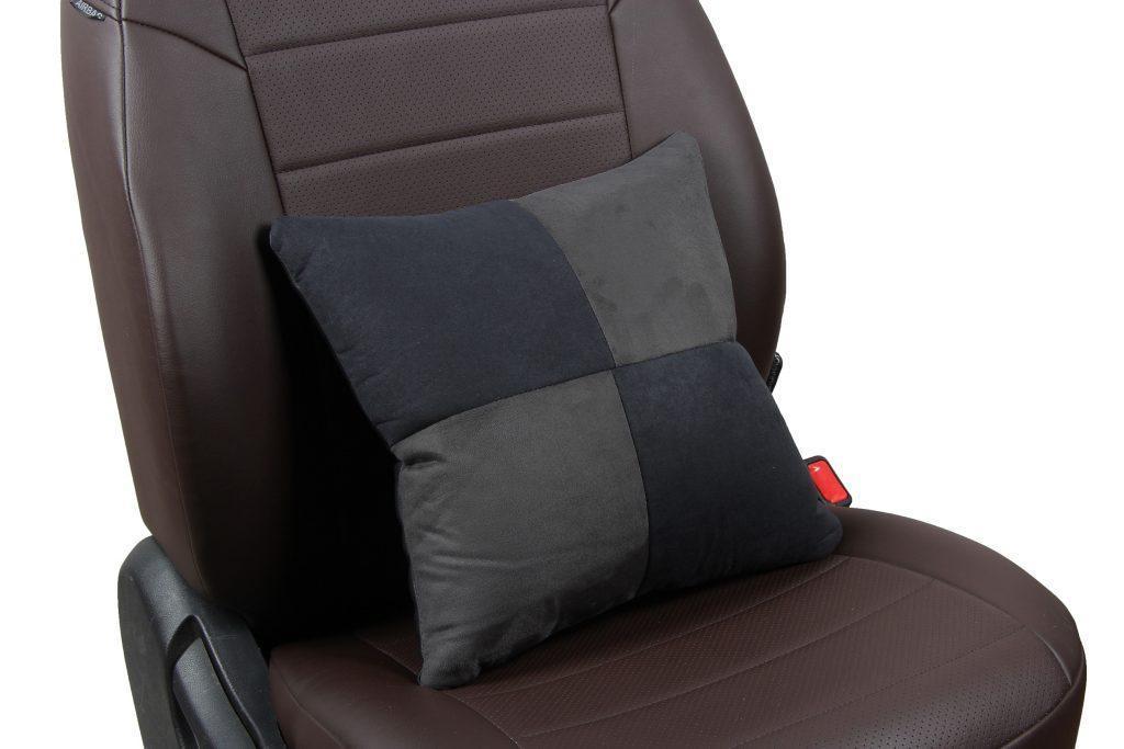 Подушка в салон автомобиля из алькантары «черный+темно-серый»