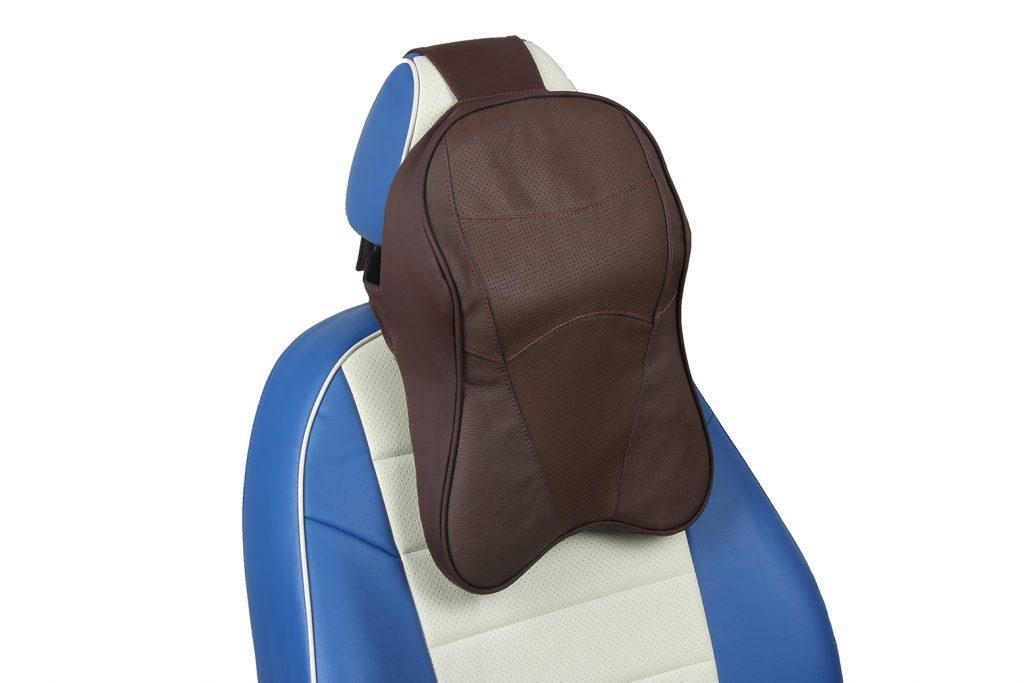 подушка под шею из натуральной кожи «шоколад»